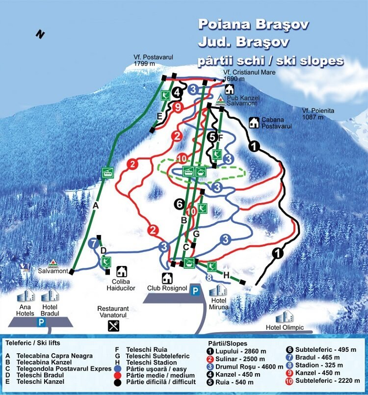 ski slopes and trails map poiana brasov romania